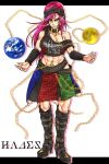 1girl abs adapted_costume belt belt_boots black_footwear boots breasts chains collar cross earrings earth_(ornament) hecatia_lapislazuli high_heel_boots high_heels highres inverted_cross jewelry knee_boots large_breasts leather leather_boots long_hair moon_(ornament) muscle off_shoulder orb pointy_ears purple_hair redhead ryuuichi_(f_dragon) skirt smile toned touhou violet_eyes