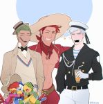 3boys bird bow cigar disney donald_duck duck gijinka green_hair grey_eyes hat jose_carioca kyou_(ningiou) male_focus multiple_boys open_clothes open_shirt panchito_pistoles personification redhead sailor simple_background smile sombrero the_three_caballeros white_hair yellow_eyes