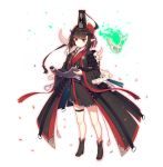 1girl animal_skull bangs black_coat black_footwear black_kimono boots brown_eyes brown_hair closed_mouth coat commentary_request eyebrows_visible_through_hair flower glowing hair_flower hair_ornament hat highres holding horns japanese_clothes jie_(530940004) kimono long_sleeves makeup mini_hat obi open_clothes open_coat original red_flower sash short_hair short_kimono simple_background skindentation skull solo spine standing thigh_strap white_background wide_sleeves