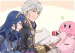 ? a_meno0 blue_eyes blue_gloves blue_hair book closed_eyes diadem eyebrows_visible_through_hair fingerless_gloves gen_1_pokemon gloves hair_between_eyes holding jigglypuff kirby long_hair looking_to_the_side lucina male_my_unit_(fire_emblem:_kakusei) my_unit_(fire_emblem:_kakusei) nintendo open_book silver_hair sitting smile super_smash_bros.