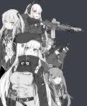 5girls alma01 assault_rifle belt_pouch breasts girls_frontline gloves gun headphones highres hk416_(girls_frontline) holstered_weapon jacket long_hair m4_sopmod_ii_(girls_frontline) magazine_(weapon) monochrome mp7_(girls_frontline) multiple_girls open_mouth pouch red_eyes rifle scar scar_across_eye simple_background submachine_gun tactical_clothes trigger_discipline ump45_(girls_frontline) ump9_(girls_frontline) weapon