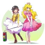 2girls ahoge black_hair blonde_hair boots cosplay crown dress elbow_gloves gloves goggles gradient_hair grey_eyes highres iesupa jewelry lakitu lakitu_(cosplay) long_hair multicolored_hair multiple_girls pink_dress princess_peach princess_peach_(cosplay) redhead ruby_rose rwby short_hair traffic_light two-tone_hair violet_eyes wavy_hair yang_xiao_long
