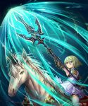 1girl bare_shoulders blue_eyes dress gauntlets green_hair madogawa official_art polearm riding shadowverse short_hair solo unicorn weapon
