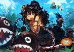 2girls :o absurdres animal_ears armlet black_eyes black_hair blonde_hair blue_sky bowsette chain_chomp chains collar day fire_flower hair_ornament highres kaamin_(mariarose753) koopa_clown_car long_hair looking_at_viewer mario_(series) multiple_girls new_super_mario_bros._u_deluxe nintendo outdoors ponytail princess_chain_chomp sharp_teeth sky spiked_armlet super_crown super_mushroom tail teeth white_pupils
