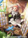 1girl animal aqua_eyes bangs bird black_dress black_legwear blush breasts chachie chair commentary_request company_connection copyright_name day dress feather_trim feathers felicia_(fire_emblem_if) fire_emblem fire_emblem_cipher fire_emblem_if gem indoors jewelry light_particles long_hair long_sleeves maid maid_headdress medium_breasts nintendo official_art open_mouth open_window pink_hair puffy_sleeves short_dress sidelocks solo sparkle thigh-highs window zettai_ryouiki