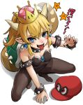 1girl :p absurdres bare_shoulders black_legwear black_nails blonde_hair blue_eyes blush bowsette bracelet breasts cabbie_hat cappy_(mario) cleavage collar crown dikko fingernails from_above full_body genderswap genderswap_(mtf) half-closed_eyes hat highres horns jewelry leotard looking_at_viewer mario_(series) nail_polish new_super_mario_bros._u_deluxe nintendo open_mouth pantyhose pointy_ears ponytail red_eyes red_hat sharp_fingernails sharp_teeth simple_background small_breasts smile solo spiked_armlet spiked_bracelet spiked_collar spiked_shell spikes squatting star super_crown super_mario_odyssey sweatdrop tail teeth text_focus tongue tongue_out translated white_background