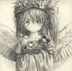 1girl angel_wings armor blush closed_mouth eyebrows_visible_through_hair greyscale long_hair looking_at_viewer lowres monochrome original ribbon sketch smile solo tsukushi_akihito upper_body wings
