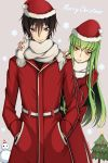 1boy 1girl black_hair c.c. christmas_tree coat code_geass eyebrows_visible_through_hair fang_out fur_trim green_hair grey_background grey_scarf hair_between_eyes hands_in_pockets hands_on_another's_shoulders hat highres leaning_to_the_side lelouch_lamperouge long_hair lucky_keai merry_christmas red_coat red_hat santa_costume santa_hat scarf smile snowflakes snowman standing very_long_hair violet_eyes yellow_eyes