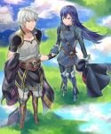 1boy 1girl a_meno0 armor blue_eyes blue_gloves blue_hair fire_emblem fire_emblem:_kakusei fire_emblem_heroes gloves long_hair lucina male_my_unit_(fire_emblem:_kakusei) my_unit_(fire_emblem:_kakusei) nintendo open_mouth silver_hair smile