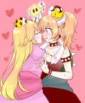 2girls blonde_hair blush bowsette bracelet chiko_(mario) closed_eyes collar commentary_request earphones elbow_gloves face-to-face facing_another fangs floating gloves heart hug imminent_kiss jewelry jin_mocoyama long_hair looking_at_another mario_(series) multiple_girls new_super_mario_bros._u_deluxe nintendo open_mouth pink_background pink_gloves ponytail princess_peach puffy_short_sleeves puffy_sleeves short_sleeves sleeping spike spiked_armlet spiked_bracelet spiked_collar spiked_shell spikes super_crown turtle_shell very_long_hair yuri zzz
