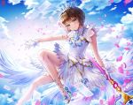 1girl blue_sky blush box_(hotpppink) brown_hair card_captor_sakura clear_card crown day dress feathered_wings gloves green_eyes head_tilt high_heels holding holding_staff kinomoto_sakura outdoors petals pumps short_dress short_hair_with_long_locks sidelocks sky sleeveless sleeveless_dress smile solo staff white_dress white_footwear white_gloves white_wings wings