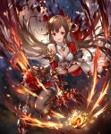 >:d 1girl artist_request breasts brown_hair cygames dragon_claw fire fireball frills galmieux_omen_of_disdain long_hair navel navel_cutout official_art open_mouth red_eyes scales shadowverse skirt small_breasts