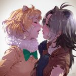 2girls american_beaver_(kemono_friends) animal_ears beaver_ears black-tailed_prairie_dog_(kemono_friends) bow bowtie brown_hair closed_eyes elbow_gloves extra_ears fur_collar gloves grey_hair hair_ornament hairclip hands_on_own_chest imminent_kiss kemono_friends light_brown_hair long_sleeves multicolored_hair multiple_girls prairie_dog_ears profile short_hair sweater takami_masahiro upper_body vest white_hair yuri