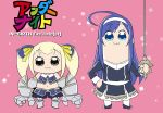 2girls blonde_hair blue_eyes blue_hair dress gloves hair_ornament hairband height_difference long_hair mika_(under_night_in-birth) multiple_girls orie_(under_night_in-birth) poptepipic short_twintails smile twintails under_night_in-birth under_night_in-birth_exe:late[st]