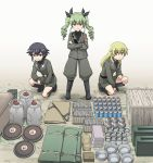 3girls anchovy anzio_military_uniform bangs belt black_belt black_footwear black_hair black_neckwear black_ribbon black_shirt blonde_hair boots box braid brown_eyes carpaccio closed_mouth commentary crossed_arms dress_shirt drill_hair eyebrows_visible_through_hair gas_tank girls_und_panzer green_eyes green_hair grey_jacket grey_pants grey_skirt grin hair_ribbon haniwa_(leaf_garden) highres jacket knee_boots long_hair long_sleeves looking_at_viewer military military_uniform miniskirt multiple_girls necktie one_knee outdoors pan pants pencil_skirt pepperoni_(girls_und_panzer) pot red_eyes ribbon riding_crop sam_browne_belt shirt short_hair side_braid skirt smile twin_drills twintails uniform