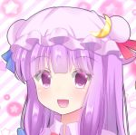 1girl blue_ribbon blush bright_background close-up crescent crescent_moon_pin double_bun eyebrows_visible_through_hair hat head looking_at_viewer open_mouth patchouli_knowledge purple_hair red_ribbon ribbon smile solo star striped striped_background touhou upper_body violet_eyes yukina_kurosaki