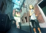 1girl arch bag blush brown_eyes brown_hair closed_mouth clothesline day door doorway dumpster eyebrows handbag highres looking_away original outdoors power_lines scenery short_hair shutter solo stairs standing wavy_hair window yoshida_seiji
