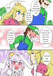 1boy 2girls ? blonde_hair blue_eyes blush comic crown dress english flying_sweatdrops gloves hand_on_another's_head hat luigi luigi's_mansion mario_(series) multiple_girls new_super_mario_bros._u_deluxe nintendo princess_king_boo princess_peach red_eyes sesield super_crown white_hair