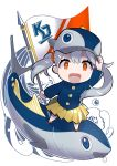 1girl :d animal arm_up bangs baseball_cap blue_eyes blue_jacket chibi commentary_request copyright_request fish fish_hat flag grey_hair hair_between_eyes hand_on_headwear hat highres holding holding_flag jacket long_hair long_sleeves omucchan_(omutyuan) open_mouth pleated_skirt red_eyes red_footwear shoes skirt smile solo standing twintails uneven_twintails very_long_hair white_background yellow_skirt