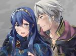 1boy 1girl a_meno0 armor black_gloves blue_eyes blue_gloves blue_hair brown_eyes collarbone diadem eyebrows_visible_through_hair fingerless_gloves fire_emblem fire_emblem:_kakusei gloves hair_between_eyes hand_on_another's_shoulder long_hair lucina male_my_unit_(fire_emblem:_kakusei) my_unit_(fire_emblem:_kakusei) nintendo open_mouth parted_lips silver_hair sweatdrop upper_body