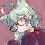 1girl ahoge akashi_(azur_lane) animal_ears azur_lane bangs bell bow braid brown_background brown_eyes brown_sweater cat_ears commentary_request eyebrows_visible_through_hair glasses green_hair hair_between_eyes head_tilt jingle_bell long_hair long_sleeves looking_at_viewer pikomarie red-framed_eyewear red_bow sidelocks simple_background sleeves_past_fingers sleeves_past_wrists solo sweater