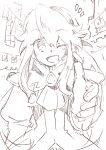 1girl clarissa_arwin coat commentary_request gloves hairband highres jacket long_hair looking_at_viewer monochrome one_eye_closed open_mouth smile solo standing wild_arms wild_arms_xf
