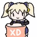 >_< 1girl :> :d animated animated_gif banging blonde_hair drum_(container) drumming gloves hair_ornament mika_(under_night_in-birth) open_mouth short_twintails smile twintails under_night_in-birth under_night_in-birth_exe:late[st] xd