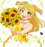 1girl artist_request bangs blonde_hair blush bouquet collar dress earrings engrish eyebrows_visible_through_hair fangs floral_print flower happy_birthday holding holding_bouquet idolmaster idolmaster_cinderella_girls jewelry jougasaki_rika long_hair open_mouth ranguage solo sundress sunflower sunflower_print two_side_up yellow_eyes
