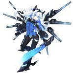 1girl absurdres armored_boots black_heart blue_eyes boots breasts eyebrows_visible_through_hair gauntlets hair_between_eyes headgear highres holding holding_weapon long_hair medium_breasts neptune_(series) next_black open_mouth ramu-on@_shinon shin_jigen_game_neptune_vii simple_background solo sword symbol-shaped_pupils visor weapon white_background white_hair
