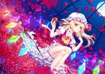 1girl apple artist_name ascot atatos bangs blonde_hair bloomers blush commentary_request crystal dutch_angle eyebrows_visible_through_hair flandre_scarlet flower food frilled_shirt_collar frills fruit full_moon hands_up hat hat_ribbon head_tilt highres holding holding_fruit lace_trim leaf legs_crossed long_hair looking_at_viewer mob_cap moon night night_sky one_side_up parted_lips petals petticoat pointing pointing_at_self pointy_ears puffy_short_sleeves puffy_sleeves red_eyes red_flower red_ribbon red_rose red_skirt red_vest ribbon rose rose_petals short_sleeves signature sitting skirt skirt_set sky slit_pupils solo sparkle star_(sky) starry_sky thighs touhou underwear vest white_bloomers white_hat yellow_neckwear