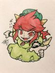 1girl bracelet claws collar crown dress earrings fangs green_dress green_hat hat highres horns jewelry koopa_peach looking_at_viewer mario_(series) marker_(medium) necklace nintendo possessed princess_peach prototype redhead solo spiked_bracelet spiked_collar spikes super_mario_odyssey traditional_media