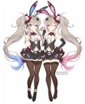 2girls :o ;q animal_ears ankle_garter arm_garter bangs black_footwear black_gloves black_shorts black_skirt blue_bow blue_eyes blue_hair blush bow bowtie breasts brown_hair brown_legwear bunny_girl bunny_tail byulzzimon card cleavage closed_mouth club_(shape) club_hair_ornament copyright_request diamond_(shape) dice_hair_ornament elbow_gloves eyebrows_visible_through_hair frilled_skirt frilled_vest frills gloves gradient_hair grey_vest hair_between_eyes hair_bow hair_ornament hand_on_hip hand_up heart highres holding holding_card long_hair medium_breasts multicolored_hair multiple_girls official_art one_eye_closed pantyhose parted_lips pink_bow pink_eyes pink_hair playing_card pleated_skirt rabbit_ears red_bow red_neckwear shoes short_shorts shorts siblings side_ponytail sidelocks simple_background sisters skirt small_breasts smile spade_hair_ornament striped tail thigh-highs tongue tongue_out twins v-shaped_eyebrows vertical-striped_vest vertical_stripes very_long_hair vest white_background white_bow