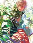 1boy brown_hair highres jacket leaf looking_at_viewer male_focus open_clothes open_jacket open_mouth original plant shade sitting solo