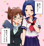 2girls akizuki_ritsuko blue_hair blush brown_hair commentary_request fingering glasses idolmaster looking_at_viewer merukyara miura_azusa multiple_girls neckerchief short_hair sidelocks speech_stab translated uniform yuri