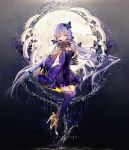 1girl ahoge bai_qi-qsr bangs bare_shoulders bone breasts butterfly_hair_ornament butterfly_on_hand cleavage closed_eyes closed_mouth commentary_request detached_sleeves dress english eyebrows_visible_through_hair facing_viewer floating full_moon gradient gradient_background hair_ornament hair_tubes high_heels highres hydrokinesis lavender_hair layered_dress long_hair long_sleeves medium_breasts moon purple_dress purple_legwear shiny shiny_hair sidelocks smile solo straight_hair thigh-highs very_long_hair vocaloid vocanese water wide_sleeves wristband xingchen yellow_footwear