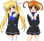 2girls ;d arms_behind_back black_dress blonde_hair blue_bow blue_eyes bow bowtie brown_hair dress eyebrows_visible_through_hair fate_testarossa floating_hair hair_between_eyes hair_ribbon head_tilt highres long_hair looking_at_viewer lyrical_nanoha mahou_shoujo_lyrical_nanoha multiple_girls one_eye_closed open_mouth ribbon sailor_collar shiny shiny_hair shiny_skin short_dress sidelocks simple_background smile standing takamachi_nanoha thigh-highs twintails very_long_hair white_background white_legwear white_ribbon yorousa_(yoroiusagi) zettai_ryouiki