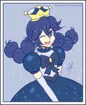 1girl bangs blue_hair blush braid crossover cute dress fire_emblem fire_emblem:_kakusei intelligent_systems long_hair lucina mario_(series) new_super_mario_bros._u_deluxe nintendo one_eye_closed open_mouth peachette raydango smile solo super_crown super_smash_bros. tiara twin_braids