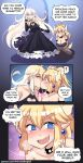 ! 2girls :d @_@ bare_shoulders black_dress black_gloves blank_eyes blonde_hair blue_eyes blush bowsette bracelet breasts cleavage cleavage_cutout collarbone comic commentary crown dark_persona dress earrings elbow_gloves english english_commentary eyebrows_visible_through_hair fang flying_sweatdrops forked_eyebrows frown genderswap genderswap_(mtf) gloves heart_cutout highres hinghoi horns jewelry kiss long_hair looking_at_viewer mario_(series) multiple_girls new_super_mario_bros._u_deluxe nintendo open_mouth pointy_ears ponytail princess_peach saliva sharp_teeth smile super_crown super_mario_bros. sweatdrop teeth thick_eyebrows yellow_eyes yuri