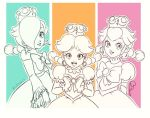3girls bow braid commentary earrings english_commentary frilled_sleeves frills jewelry lipstick makeup mario_(series) multicolored multicolored_background multiple_girls new_super_mario_bros._u_deluxe nintendo peachette princess_daisy rosetta_(mario) simple_background toadette transformation twin_braids twitter_username