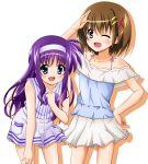 2girls ;d blue_eyes brown_hair collarbone cowboy_shot eyebrows_visible_through_hair hair_between_eyes hair_ornament hairband hand_on_hip hand_on_lap highres leaning_forward long_hair looking_at_viewer lyrical_nanoha mahou_shoujo_lyrical_nanoha miniskirt multiple_girls one_eye_closed open_mouth purple_hair salute shiny shiny_hair shiny_skin shirt short_hair simple_background skirt sleeveless sleeveless_shirt smile solo standing striped striped_shirt tsukimura_suzuka vertical-striped_shirt vertical_stripes very_long_hair white_background white_hairband white_skirt x_hair_ornament yagami_hayate yorousa_(yoroiusagi)