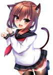 1girl animal_ears black_legwear black_skirt blush brown_hair cat_ears cat_tail eyebrows_visible_through_hair hair_between_eyes hair_ornament hairclip highres ikazuchi_(kantai_collection) kantai_collection long_sleeves looking_at_viewer miniskirt neckerchief open_mouth paw_pose red_neckwear ricroot school_uniform short_hair simple_background skirt smile solo tail thigh-highs white_background