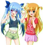 2girls :d arisa_bannings belt black_hair blonde_hair blue_bow blue_hair bow double_v eyebrows_visible_through_hair green_eyes hair_between_eyes hair_bow highres long_hair looking_at_viewer lyrical_nanoha mahou_shoujo_lyrical_nanoha material-l miniskirt multicolored_hair multiple_girls open_mouth pink_eyes pleated_skirt print_shirt purple_skirt red_shirt shiny shiny_hair shirt short_shorts short_sleeves shorts shoulder_cutout simple_background skirt smile standing torn_clothes torn_shorts two-tone_hair two_side_up v very_long_hair white_background yorousa_(yoroiusagi)