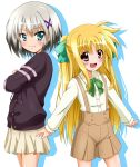 2girls :d alicia_testarossa black_sweater blonde_hair blush bow bowtie brown_shorts cowboy_shot crossed_arms dress_shirt eyebrows_visible_through_hair green_bow hair_between_eyes hair_bow highres long_hair looking_at_viewer lyrical_nanoha mahou_shoujo_lyrical_nanoha material-d miniskirt multiple_girls open_mouth pleated pleated_skirt red_eyes shadow shiny shiny_hair shirt shorts simple_background skirt smile standing suspender_shorts suspenders sweater sweater_vest twintails very_long_hair white_background white_shirt white_skirt yorousa_(yoroiusagi)