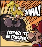 1boy 1girl armlet bare_shoulders black_dress blonde_hair bowsette bracelet brooch brown_hair clenched_hands collar crown dress earrings english facial_hair fang hat horns ian_samson jewelry long_hair looking_at_another mario mario_(series) midair mustache new_super_mario_bros._u_deluxe nintendo red_eyes speed_lines spiked_armlet spiked_bracelet spiked_collar spiked_shell spikes strapless strapless_dress super_crown turtle_shell v-shaped_eyebrows