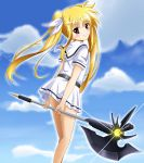 1girl bardiche blonde_hair blue_sky clouds day eyebrows_visible_through_hair fate_testarossa floating_hair hair_between_eyes hair_ribbon head_tilt highres holding holding_weapon long_hair looking_at_viewer lyrical_nanoha mahou_shoujo_lyrical_nanoha miniskirt outdoors pleated_skirt poleaxe red_eyes ribbon sailor_collar shirt short_sleeves skirt sky solo standing twintails very_long_hair weapon white_ribbon white_shirt white_skirt yorousa_(yoroiusagi)