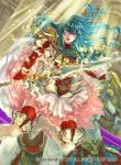 1girl aqua_hair armor blue_eyes blue_hair blush cape eirika fingerless_gloves fire_emblem fire_emblem:_seima_no_kouseki fire_emblem_cipher gloves long_hair looking_at_viewer nintendo official_art open_mouth sidelocks skirt smile solo suzuki_rika thigh-highs weapon