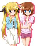 2girls arms_behind_back black_ribbon blue_eyes blue_jacket blush bow bowtie brown_hair character_request collarbone dress eyebrows_visible_through_hair fate_testarossa hair_between_eyes hair_ribbon highres jacket looking_at_viewer lyrical_nanoha mahou_shoujo_lyrical_nanoha multiple_girls open_clothes open_jacket pink_shirt purple_shorts red_bow red_eyes ribbon shiny shiny_hair shiny_skin shirt short_dress short_hair short_shorts short_sleeves shorts simple_background smile standing sundress white_background white_dress yorousa_(yoroiusagi)