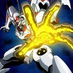 80s akimaru dangaioh_hyper_combat_unit dangaiou foreshortening glowing hands mecha no_humans oldschool outstretched_arm science_fiction solo super_robot