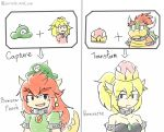+ 1boy 3girls black_dress blonde_hair bowser bowsette bracelet character_name collar comparison crown dress drizzle_and_sun english eyebrows_visible_through_hair fangs genderswap genderswap_(mtf) green_dress hat horns jewelry koopa_peach long_hair mario_(series) misspelled multiple_girls new_super_mario_bros._u_deluxe nintendo ponytail possessed pout princess_peach prototype redhead simple_background smile spiked_bracelet spiked_collar spikes super_crown super_mario_odyssey thick_eyebrows transformation white_background