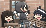 3girls black_hair brown_hair closed_eyes commentary dated eyebrows_visible_through_hair flying_sweatdrops gloves green_sailor_collar grey_skirt grey_vest hair_ornament hairclip hammer hamu_koutarou hatsuyuki_(kantai_collection) highres hime_cut holding holding_hammer kantai_collection kuroshio_(kantai_collection) long_hair motion_lines multiple_girls open_mouth pleated_skirt red_eyes sailor_collar shaded_face shirt short_hair short_sleeves skirt tears vest white_gloves white_shirt yamashiro_(kantai_collection) yawning yellow_eyes